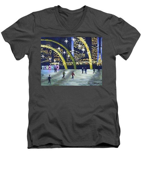 City Hall Christmas Men's V-Neck T-Shirt