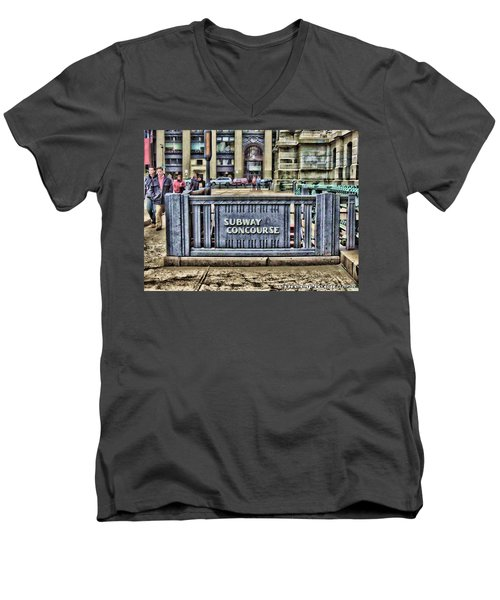 City Hall Sidewalk Men's V-Neck T-Shirt