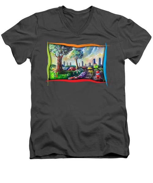 City Life Men's V-Neck T-Shirt