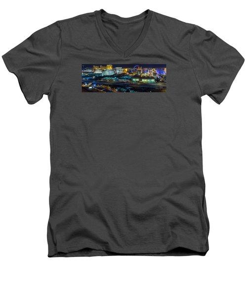 Men's V-Neck T-Shirt featuring the photograph City Lifescape View Las Vegas by Michael Rogers