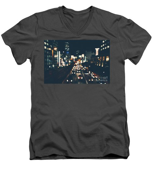 Men's V-Neck T-Shirt featuring the photograph City Lights by MGL Meiklejohn Graphics Licensing