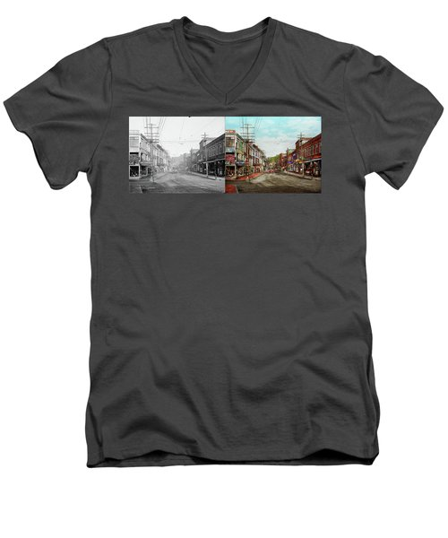 Men's V-Neck T-Shirt featuring the photograph City - Ma Glouster - A Little Bit Of Everything 1910 - Side By Side by Mike Savad