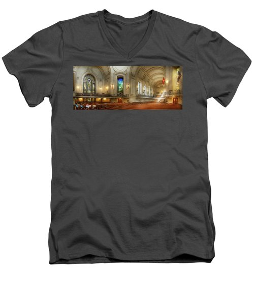 Men's V-Neck T-Shirt featuring the photograph City - Naval Academy - God Is My Leader by Mike Savad