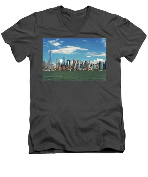Men's V-Neck T-Shirt featuring the photograph City - New York Ny - The New York Skyline by Mike Savad