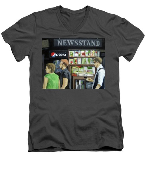 Men's V-Neck T-Shirt featuring the painting City Newsstand - People On The Street Painting by Linda Apple