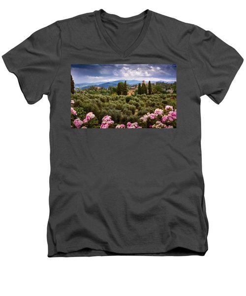 Tuscan Landscape With Roses And Mountains In Florence, Italy Men's V-Neck T-Shirt