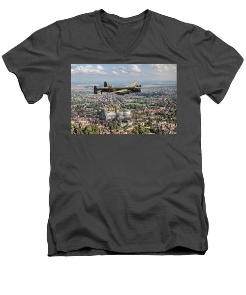 Men's V-Neck T-Shirt featuring the photograph City Of Lincoln Vn-t Over The City Of Lincoln by Gary Eason