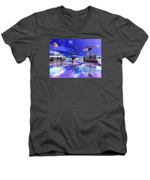 Men's V-Neck T-Shirt featuring the digital art City Of New Horizions by Jacqueline Lloyd