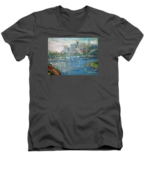 Men's V-Neck T-Shirt featuring the painting City On The Bay by John Fish