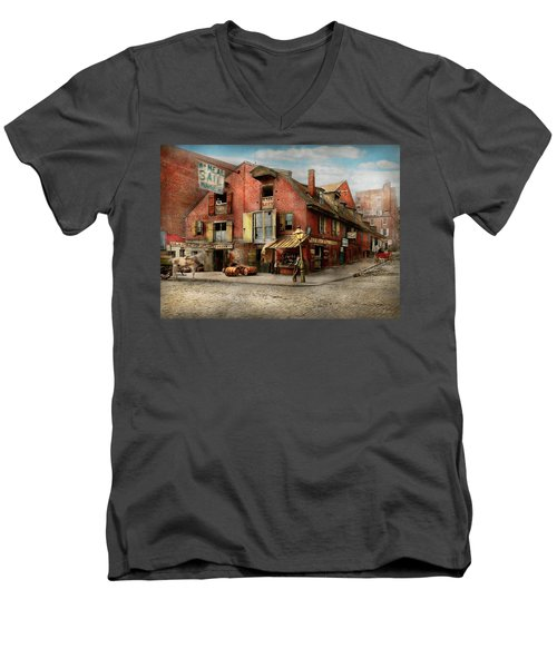 Men's V-Neck T-Shirt featuring the photograph City - Pa - Fish And Provisions 1898 by Mike Savad