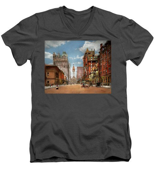 Men's V-Neck T-Shirt featuring the photograph City - Pa Philadelphia - Broad Street 1905 by Mike Savad