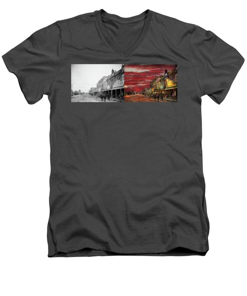 Men's V-Neck T-Shirt featuring the photograph City - Palmerston North Nz - The Shopping District 1908 - Side By Side by Mike Savad