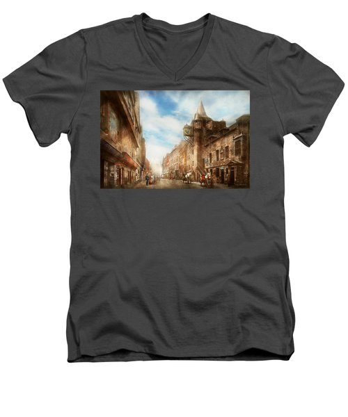 Men's V-Neck T-Shirt featuring the photograph City - Scotland - Tolbooth Operator 1865 by Mike Savad