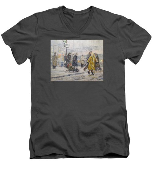 Men's V-Neck T-Shirt featuring the painting City Snow Ride by Donna Tucker