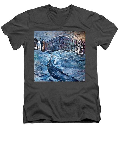 City Snow Storm Men's V-Neck T-Shirt