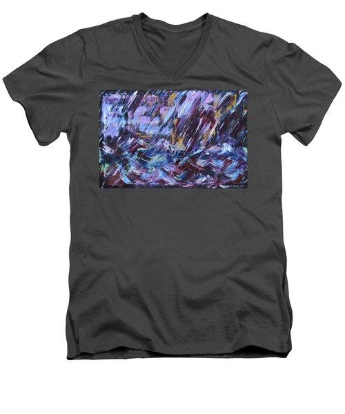 City Storm Abstract Men's V-Neck T-Shirt