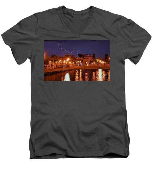 City Storm Men's V-Neck T-Shirt by Quinn Sedam