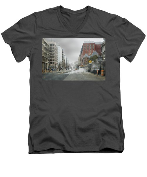 Men's V-Neck T-Shirt featuring the photograph City Street On A Rainy Day by Francesa Miller
