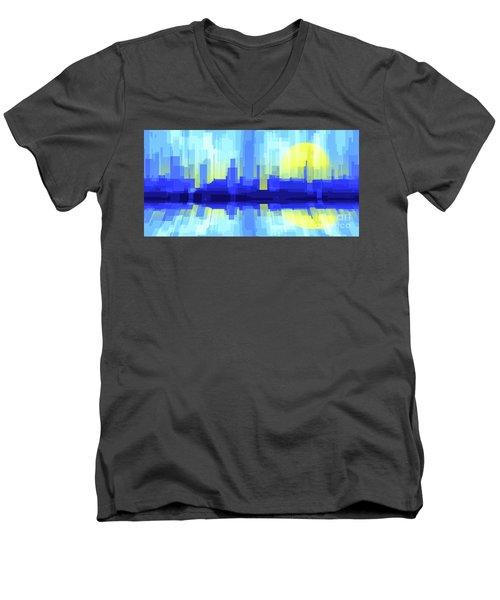 City Sun Silhouette Men's V-Neck T-Shirt
