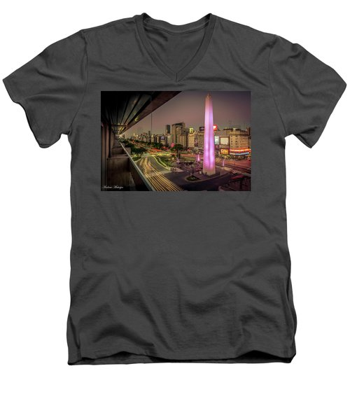 Men's V-Neck T-Shirt featuring the photograph City Sunset by Andrew Matwijec