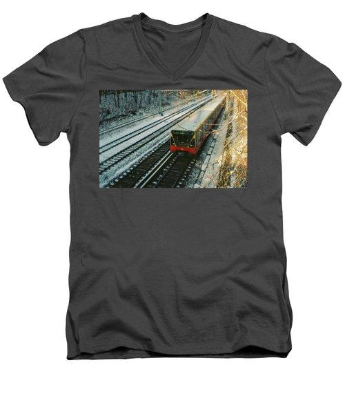 City Train In Berlin Under The Snow Men's V-Neck T-Shirt