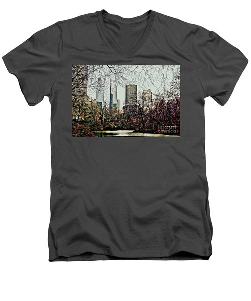 City View From Park Men's V-Neck T-Shirt by Sandy Moulder
