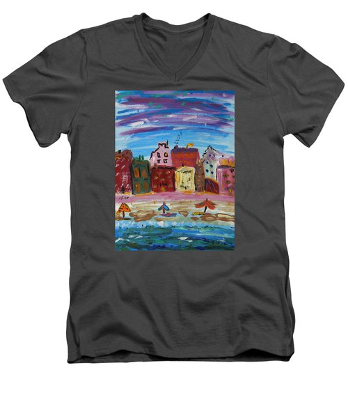 City With A Pink Boardwalk Men's V-Neck T-Shirt by Mary Carol Williams