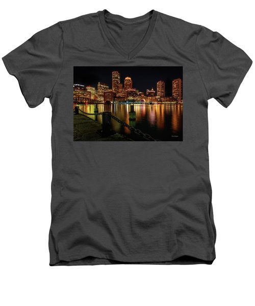 City With A Soul- Boston Harbor Men's V-Neck T-Shirt