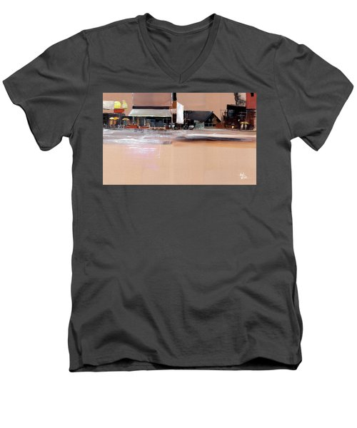 Men's V-Neck T-Shirt featuring the painting Cityscape 3 by Anil Nene