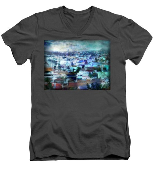 Men's V-Neck T-Shirt featuring the photograph Cityscape #41 - Blue Whispers by Alfredo Gonzalez