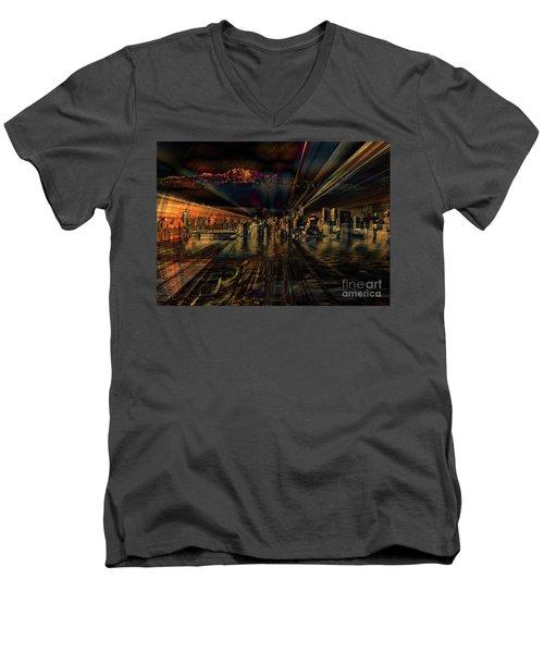 Cityscape Men's V-Neck T-Shirt by Elaine Hunter