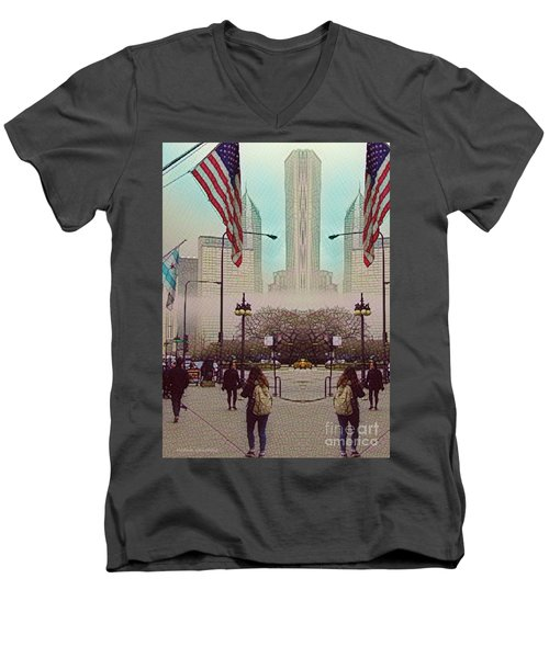 Men's V-Neck T-Shirt featuring the photograph Cityscape With A Bit Of Fog by Kathie Chicoine