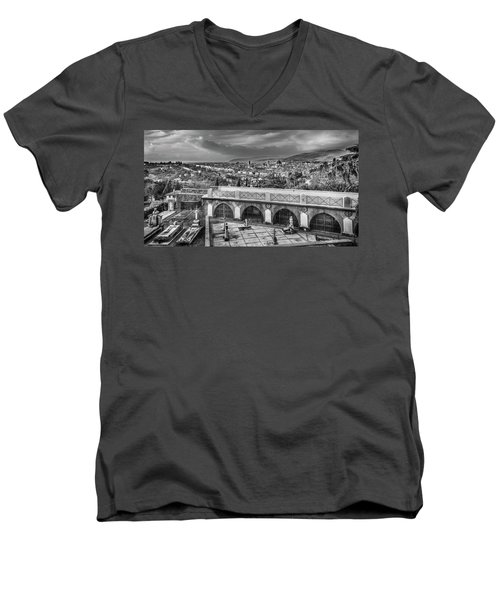 Men's V-Neck T-Shirt featuring the photograph Cityscape Of Florence And Cemetery by Sonny Marcyan