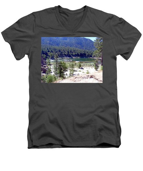 Clark Fork River Missoula Montana Men's V-Neck T-Shirt by Kay Novy