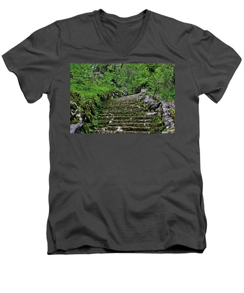 Men's V-Neck T-Shirt featuring the photograph Clark Reservation  by Suzanne Stout