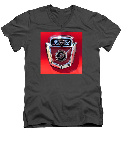 Men's V-Neck T-Shirt featuring the photograph Classic Ford Logo by Spyder Webb