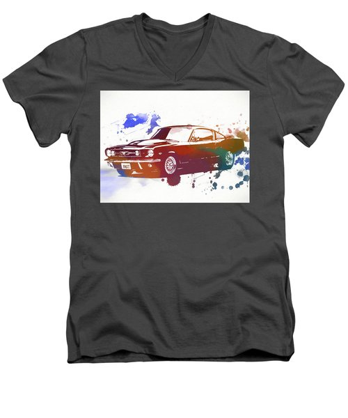 Classic Ford Mustang Watercolor Splash Men's V-Neck T-Shirt by Dan Sproul