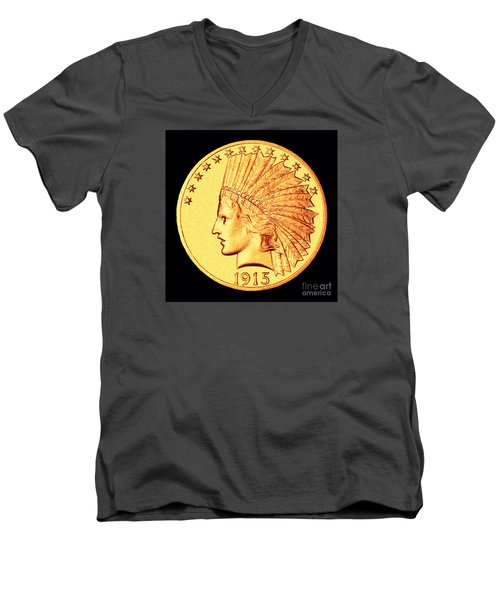 Classic Indian Head Gold Men's V-Neck T-Shirt by Jim Carrell