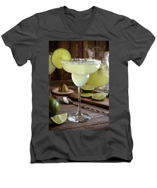 Men's V-Neck T-Shirt featuring the photograph Classic Lime Margaritas On The Rocks by Teri Virbickis