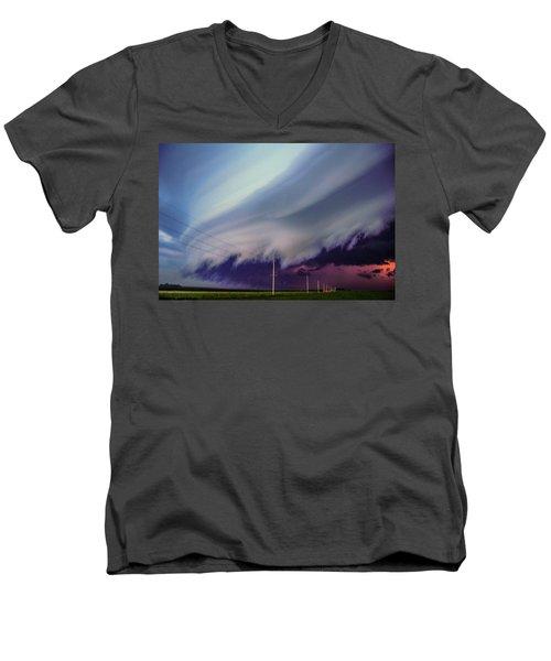 Classic Nebraska Shelf Cloud 028 Men's V-Neck T-Shirt