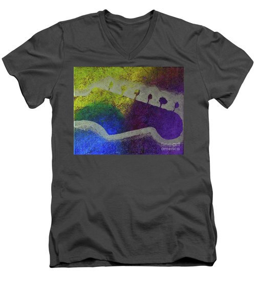 Men's V-Neck T-Shirt featuring the drawing Classic Rock by Melissa Goodrich
