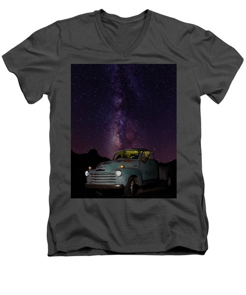 Classic Truck Under The Milky Way Men's V-Neck T-Shirt