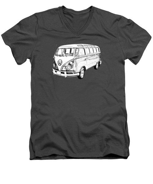 Classic Vw 21 Window Mini Bus Illustration Men's V-Neck T-Shirt by Keith Webber Jr
