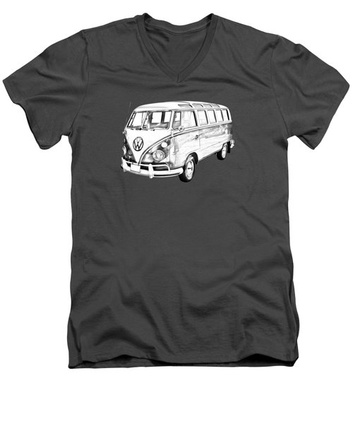 Classic Vw 21 Window Mini Bus Illustration Men's V-Neck T-Shirt