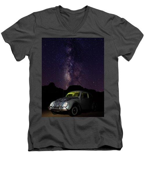 Classic Vw Bug Under The Milky Way Men's V-Neck T-Shirt