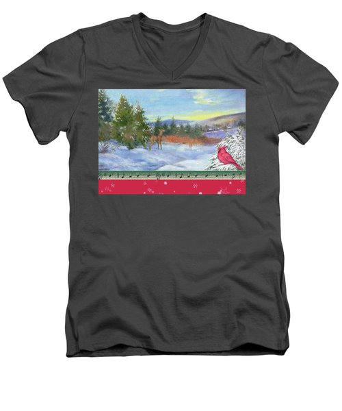 Men's V-Neck T-Shirt featuring the painting Classic Winterscape With Cardinal And Reindeer by Judith Cheng