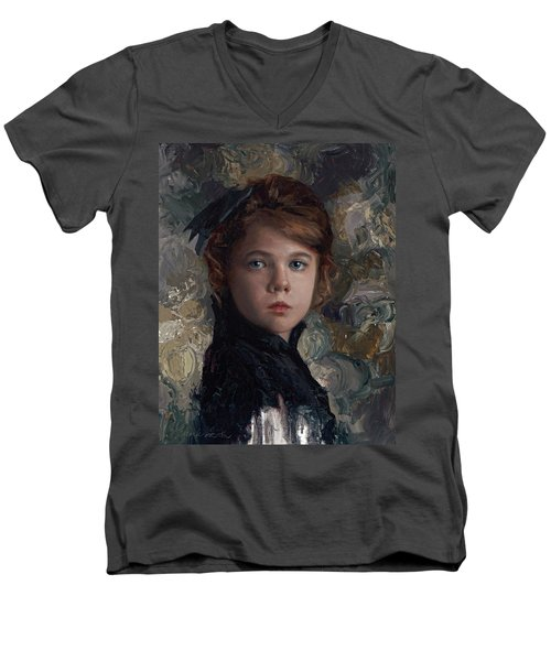 Men's V-Neck T-Shirt featuring the painting Classical Portrait Of Young Girl In Victorian Dress by Karen Whitworth