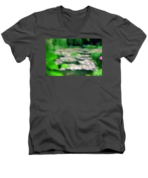 Men's V-Neck T-Shirt featuring the photograph Claude Monets Water Garden Giverny 1 by Dubi Roman