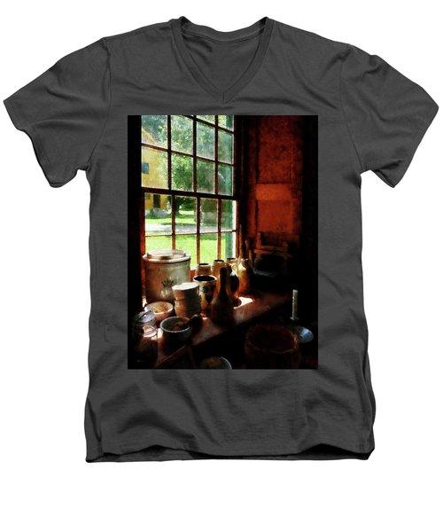 Clay Jars On Windowsill Men's V-Neck T-Shirt by Susan Savad