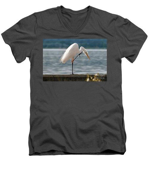 Cleaning White Egret Men's V-Neck T-Shirt
